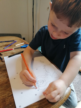 Our Dave Colouring Book being enjoyed at home