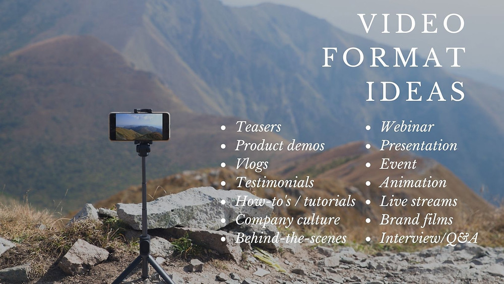 infographic with a list of video formats against a mountain backdrop