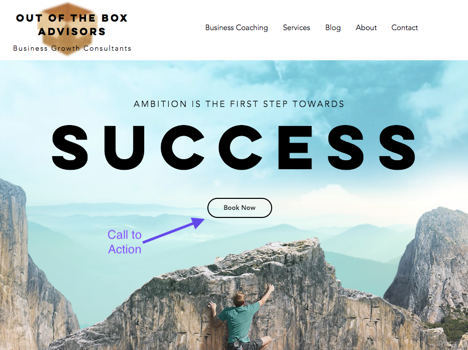 Out of the Box Advisors website showing a call to action