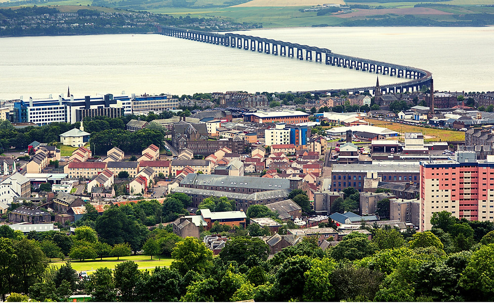 Wide angle view of Dundee Scotland cityscape