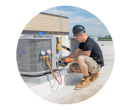 Air Conditioning Technician repairing an HVAC