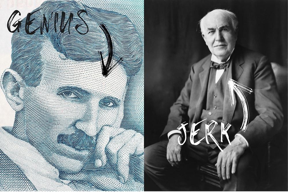 Nikola Tesla and Thomas Edison comparison image