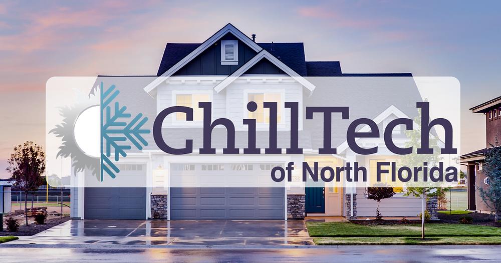 Chilltech logo over a winter home