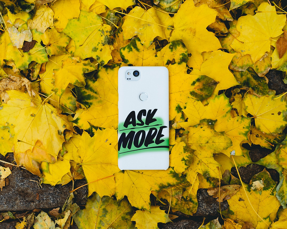 Phone with text saying ask more on a pile of leaves