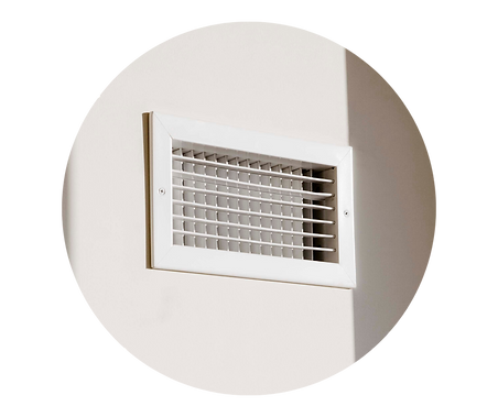 A clean HVAC air vent connected to a duct