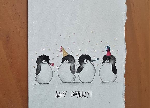 A6 CARD BIRTHDAY PINGUINS