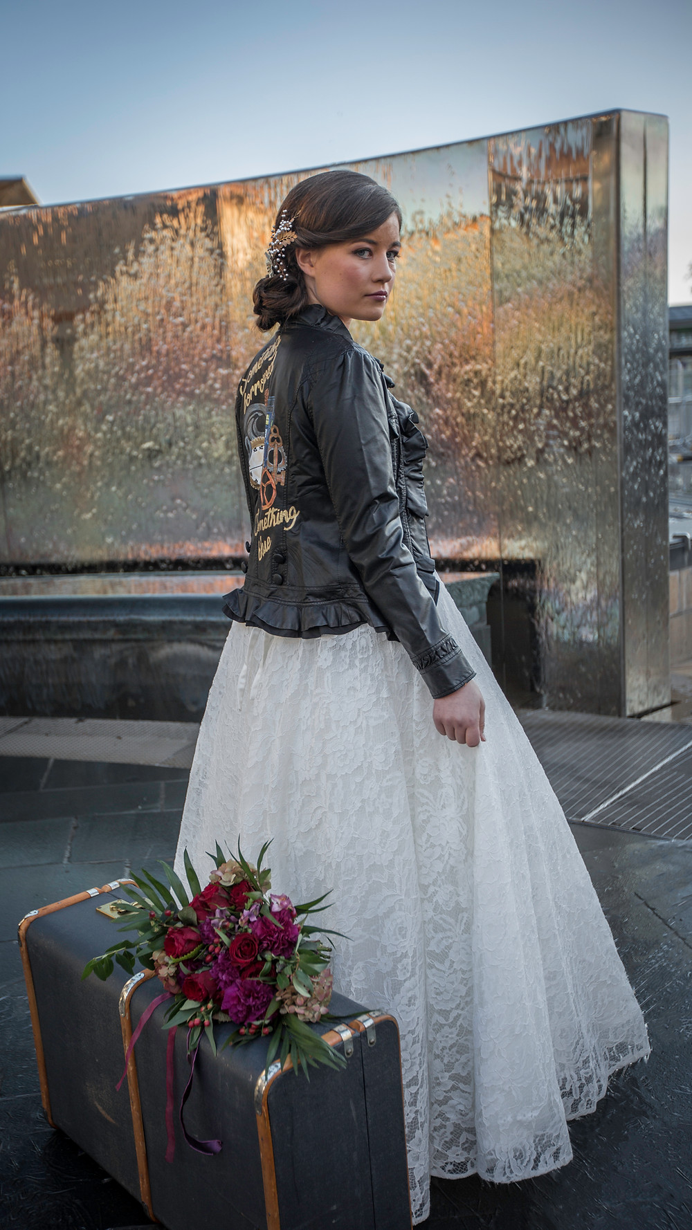 Bride in Leather Jacket Leaving Bristol