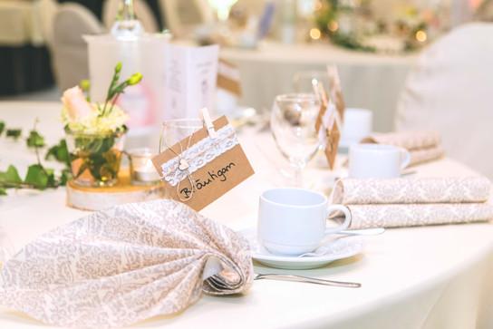 Tischdeko fürs Brautpaar