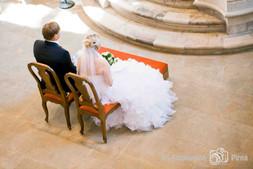 Hochzeit, Brautpaar in der Frauenkirche Dresden