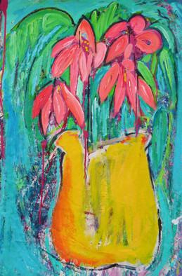 "Yellow Vase Pink Flowers (44""wx30""w)"