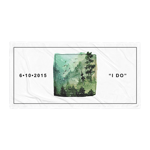 Mossy Forest Star Map Personalized Towel