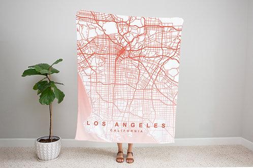 Pink on White Custom Map Blanket