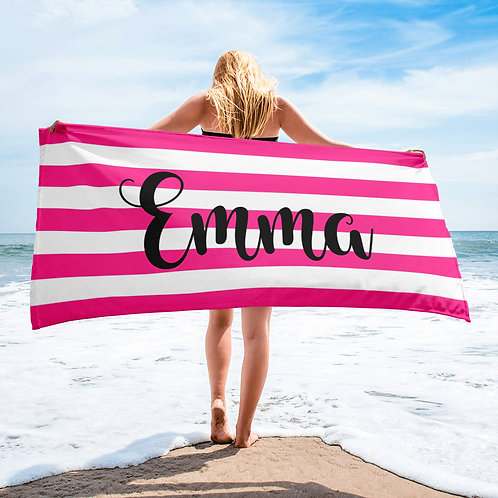 Strawberry Striped Personalized Towel