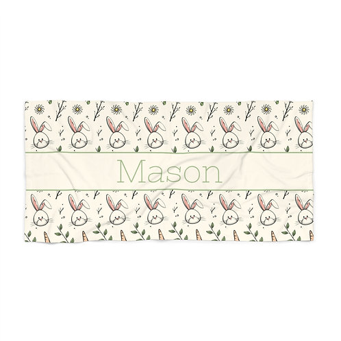 Easter Bunny Personalized Towel- Green