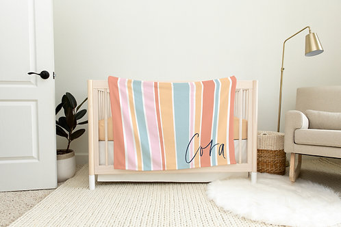 Summer Stripes Personalized Blanket- Pink