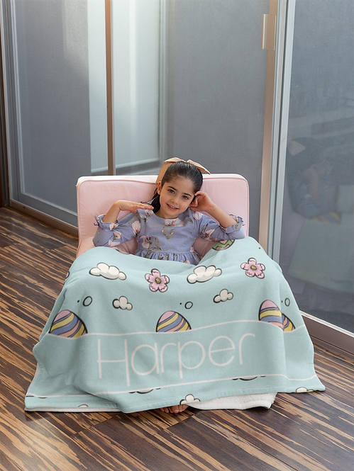 Easter Blue Personalized Blanket
