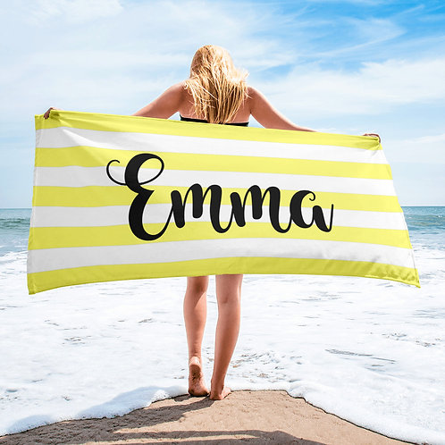 Banana Striped Personalized Towel