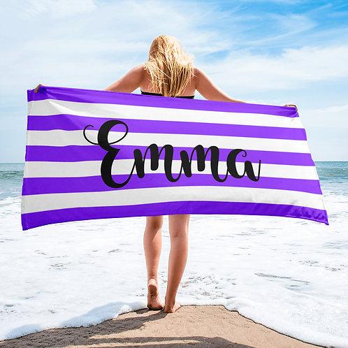 Grape Striped Personalized Towel