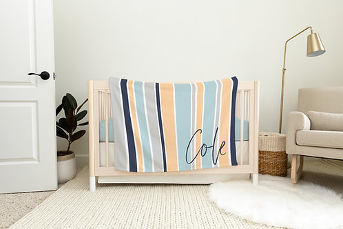 Summer Stripes Personalized Blanket- Blue