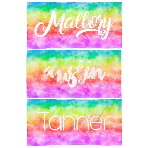 Wholesale Bright Tie Dye Personalized Towel