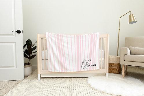 Dockside Stripes Personalized Blanket- Pink
