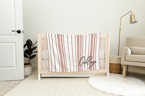 Dockside Stripes Personalized Blanket- Neutral