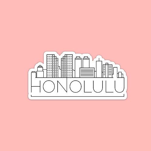 Honolulu Skyline Sticker