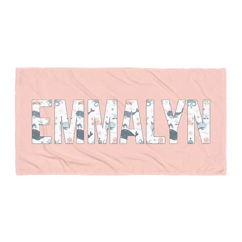 Pink Under the Sea Personalized Towel