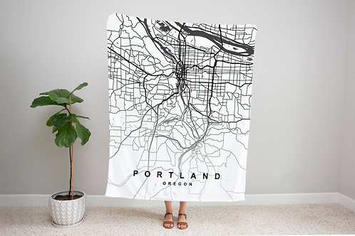 Black on White Custom Map Blanket