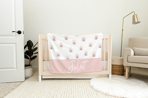 Rainbow Personalized Blanket- Pink