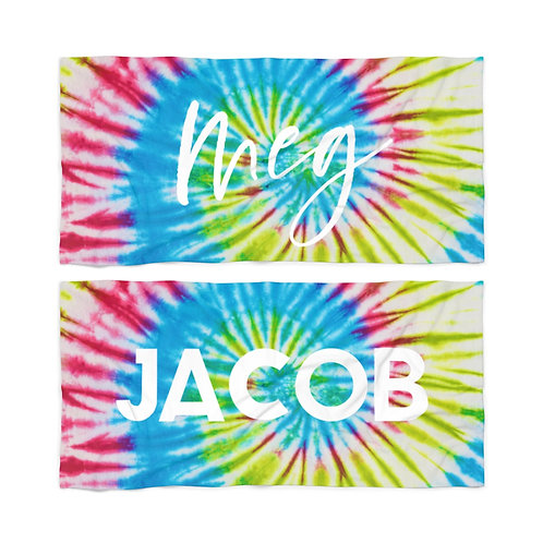Rainbow Spiral Tie Dye Personalized Towel