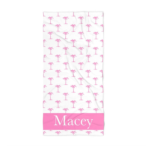 Pink Palm Trees Personalized Towel
