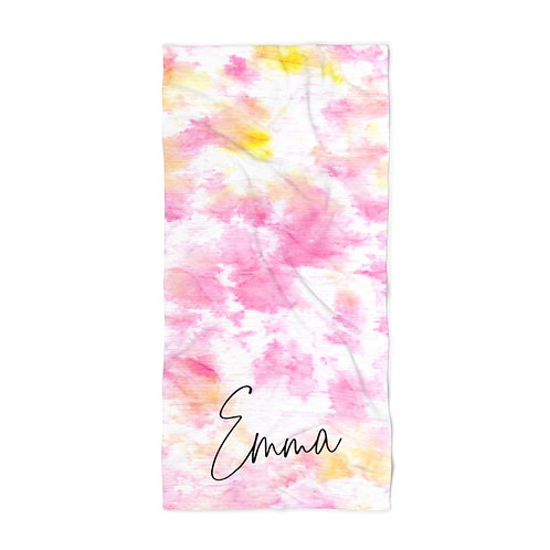 Pink Watercolor Personalized Towel