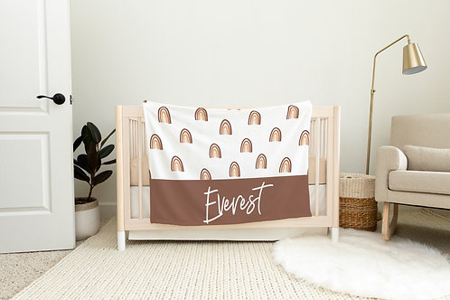 Rainbow Personalized Blanket- Neutral