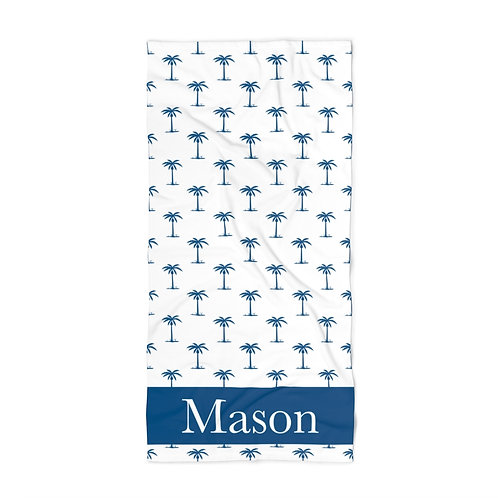 Blue Palm Trees Personalized Towel