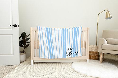 Dockside Stripes Personalized Blanket- Blue