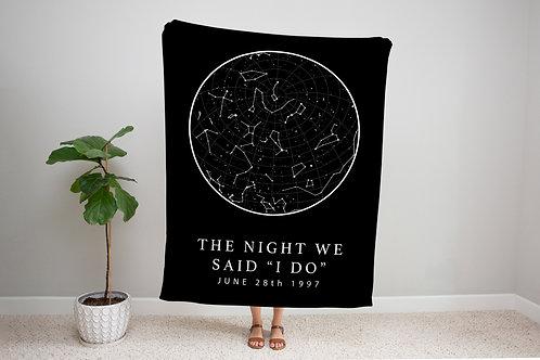 Black on Black Custom Star Map Blanket