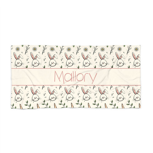 Easter Bunny Personalized Towel- Pink