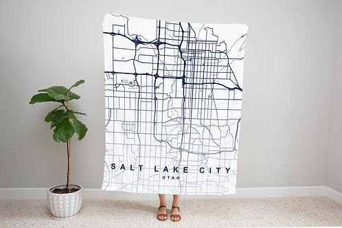 Blue on White Custom Map Blanket