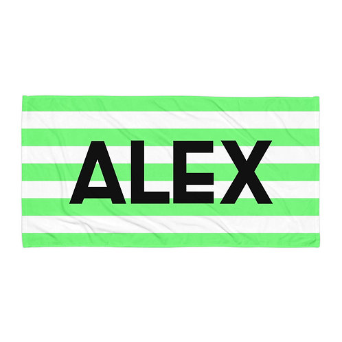 Flora Striped Personalized Towel