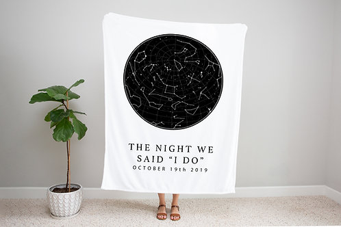 Black on White Custom Star Map Blanket