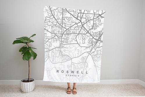 Grey on White Custom Map Blanket
