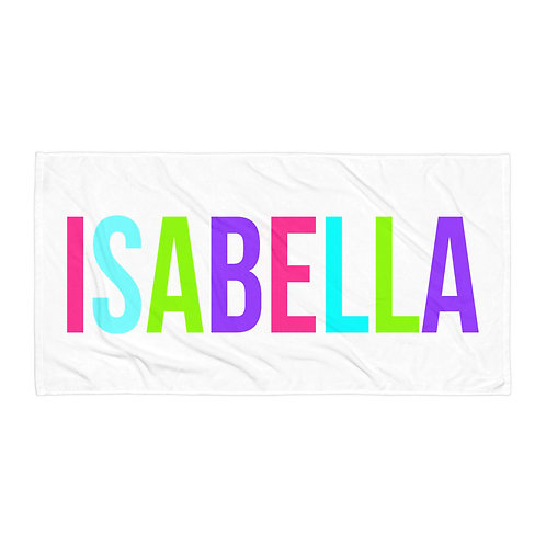 Pink Bright Letters Personalized Towel