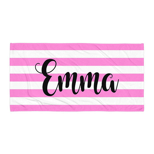Pink Striped Personalized Towel