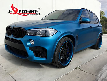 Extreme Autowerks® 2016 BMW X5M Long Beach Blue with LLumar Matte Paint Protection Film