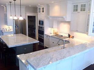 Marble countertop and island protected by StoneGuard® Stone Surface Protection Film installed by Extreme Window Film Solutions™