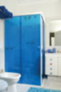 Shower blue color decorative film. Extreme Window Film Solutions™