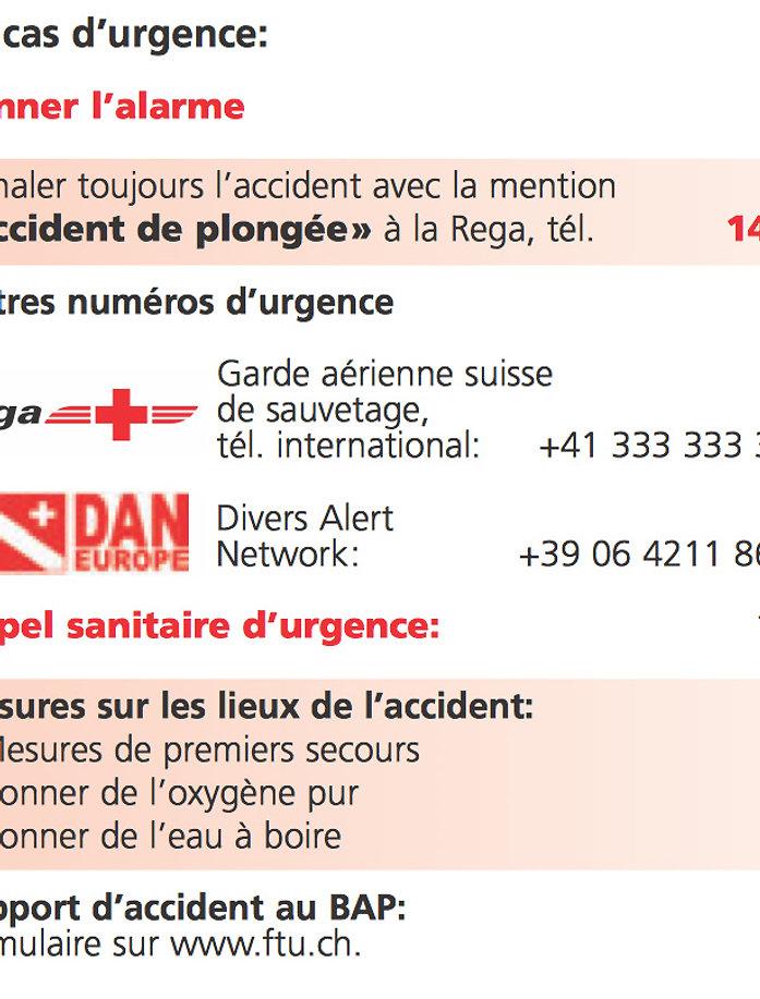 numéros d'urgence pour la plongée
