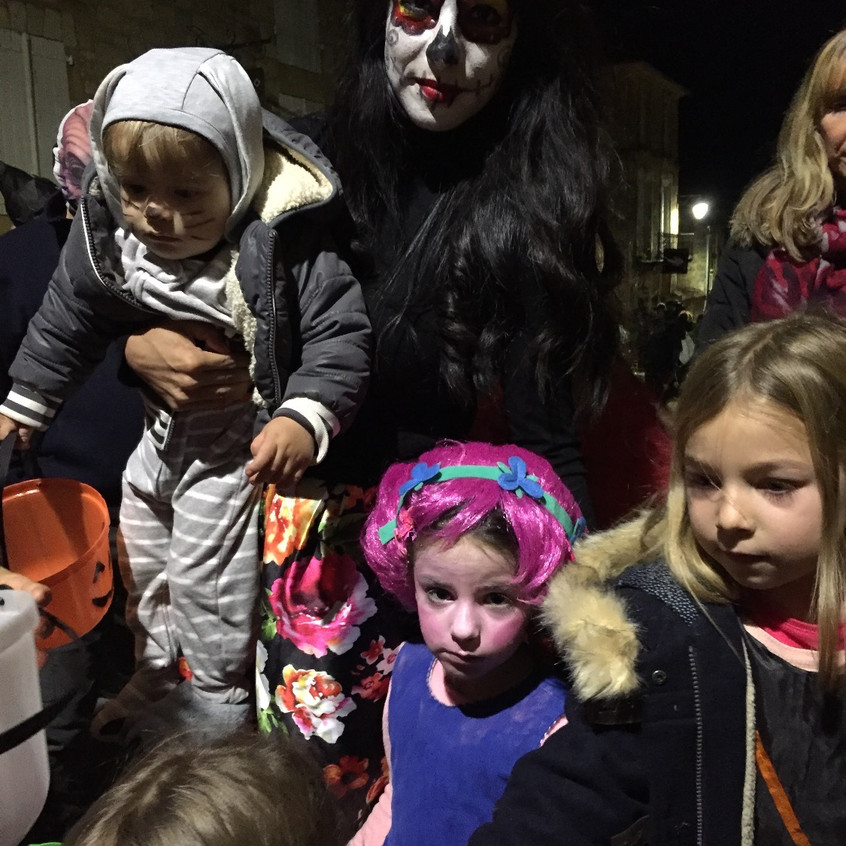 Mom and kids with cute costumes