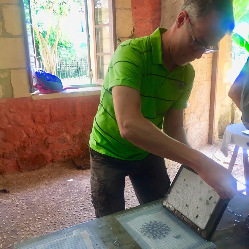 Paper making at musée du papier